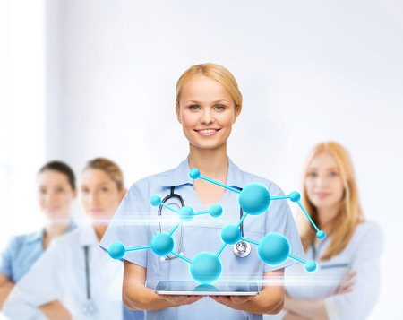 health care research: healthcare, medicine,research, science, chemistry and technology concept - smiling female doctor or nurse with tablet pc computer