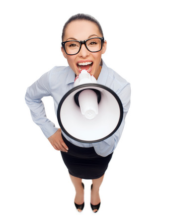 loudhailer: business and office concept - screaming businesswoman in eyeglasses with megaphone
