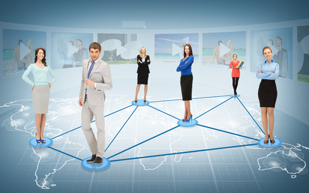 entrepreneurs: business and networking concept - social or business network