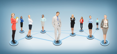 business networking: business and networking concept - social or business network