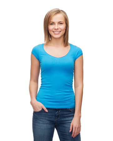 t-shirt design and people concept - smiling girl in blank blue t-shirt