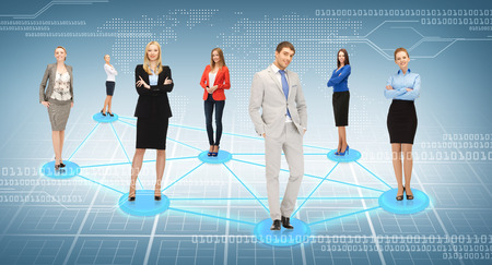 business and social concept - social or business network photo