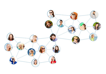 business and networking concept - social network with men and women Stock Photo
