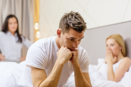 cheating: hotel, travel, relationships and sexual problems concept - wife caught man cheating with another woman