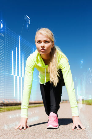 sport and lifestyle concept - concentrated woman doing running outdoors Stock Photo