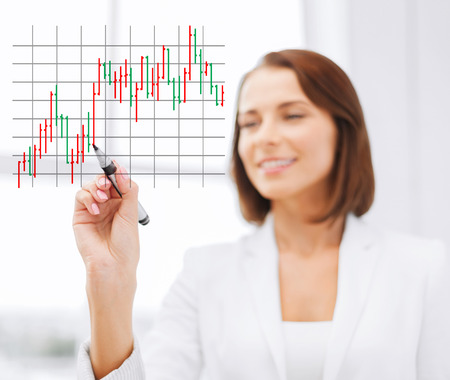 office, business, technology and money concept - businesswoman drawing forex chart in the air with marker Stock Photo - 25628507