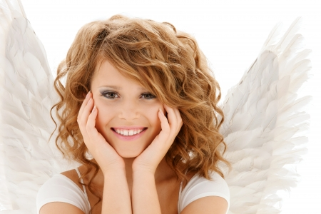 teenage girl happy: religion, faith, holidays and costumes concept - happy teenage angel girl