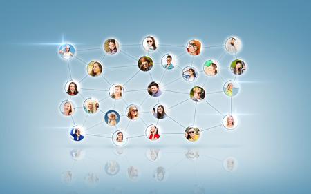 비즈니스와 네트워킹 개념 - 남자와 여자와 소셜 네트워크