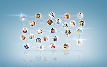 social relation: business and networking concept - social network with men and women Stock Photo