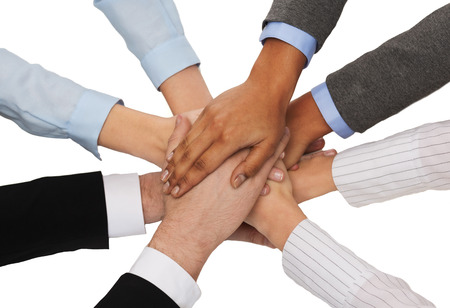 many hands: business, succcess and winning concept - group of businesspeople celebrating victory