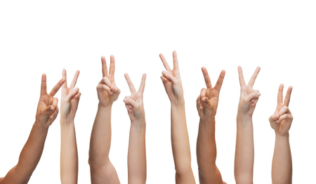 all right: gesture and body parts concept - human hands showing v-sign Stock Photo