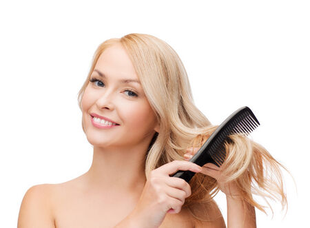 hair brush: health and beauty concept - beautiful woman with long hair and brush