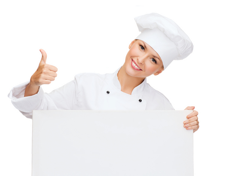 cooking, advertisement and food concept - smiling female chef, cook or baker with white blank board showing thumbs up photo