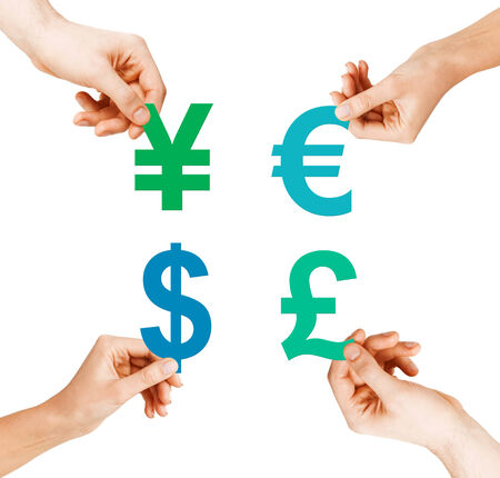 investment, stock market and exchange concept - four hands holding currency symbols photo
