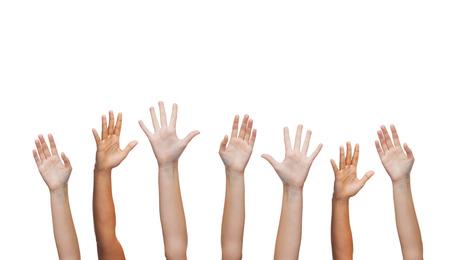 partes del cuerpo humano: el gesto y el cuerpo concepto partes - la mano del hombre agitando las manos Foto de archivo