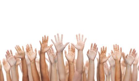 gebaar en lichaamsdelen concept - menselijke handen wuivende handen Stockfoto