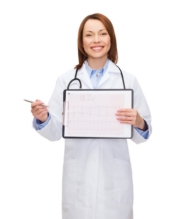 healthcare, medicine, advertisement and sale concept - smiling female doctor with stethoscope, clipboard and cardiogram photo