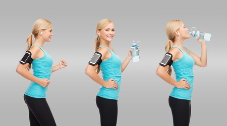sport, exercise, technology, healthcare concept - triple image of sporty woman running, listening music with smartphone and drinking water photo