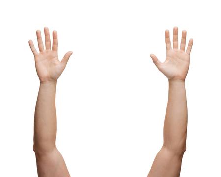 manos abiertas: el gesto y el cuerpo concepto partes - dos manos del hombre agitando las manos Foto de archivo