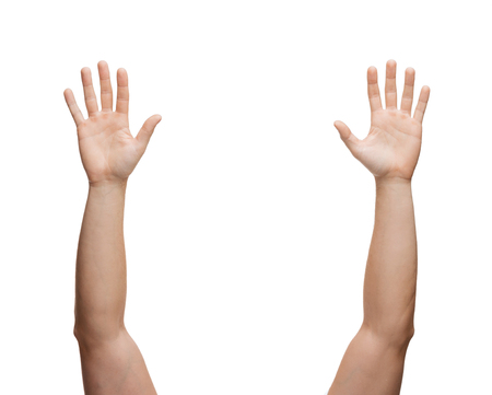 body parts: gesture and body parts concept - two man hands waving hands Stock Photo