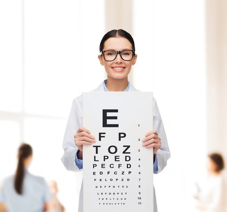 eye care professional: healthcare, advertisement and medicine concept - smiling female doctor in eyeglasses with eye chart