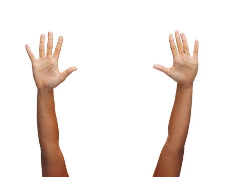 ジェスチャーと体パーツ コンセプト - の女性両手で手を振って