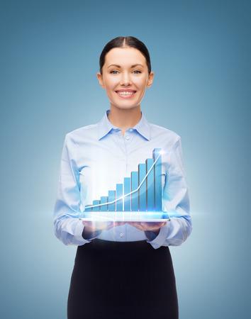 비즈니스, 기술, 인터넷 및 투자 개념 - 태블릿 PC와 그래프 친절 젊은 미소 사업가