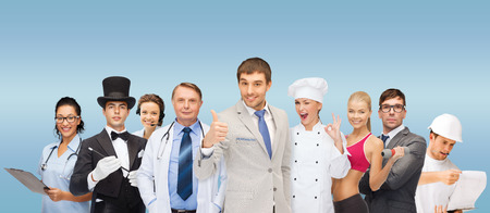 professions and people concept - group of people including businessmen, doctor, nurse, magician, helpline operator, cook, personal trainer photo