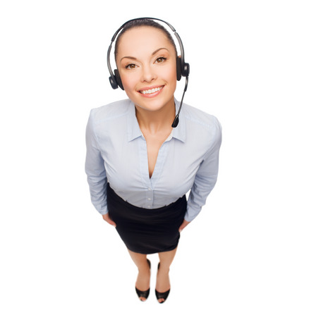 business and office concept - friendly female helpline operator with headphones Stock Photo - 26175739