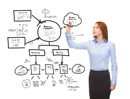 office, business and new technology concept - smiling businesswoman drawing plan on virtual screen Stock Photo - 26175583