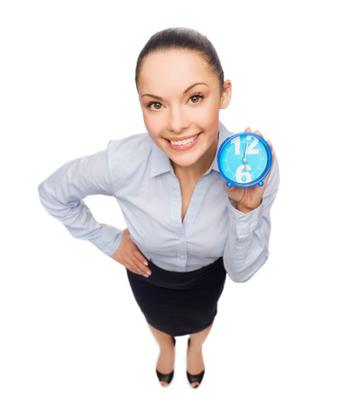 business, time and deadline concept - smiling businesswoman with blue clock Stock Photo - 26175516