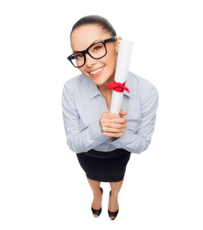 business, educatiom and office concept - smiling businesswoman in eyeglasses with diploma Stock Photo - 26175518