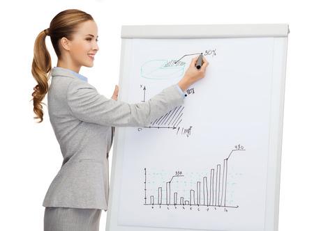 affaires, les finances et le concept de bureau - sourire d'affaires debout à côté de bord retourner et pointant main à la courbe de croissance