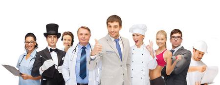 profesiones y concepto de la gente - grupo de personas, incluyendo a hombres de negocios, médico, enfermera, mago, operador de línea telefónica de ayuda, cocinero, personal trainer
