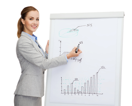flip chart: business, finances and office concept - smiling businesswoman standing next to flip board and pointing hand at growth chart Stock Photo