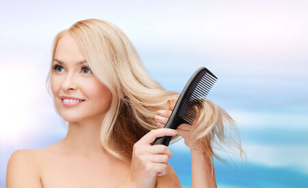 hair brush: beautiful woman with long hair and brush