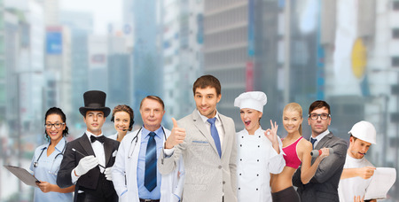 group of people including businessmen, doctor, nurse, magician, helpline operator, cook and personal trainer photo