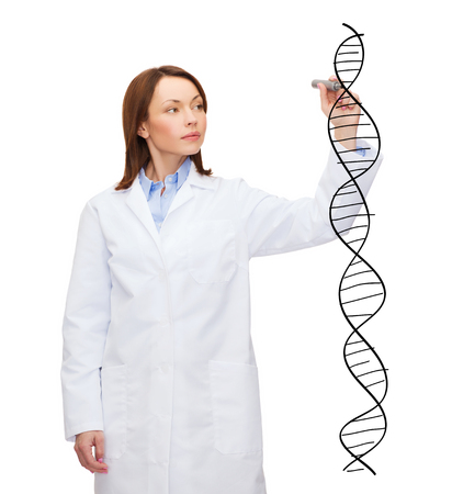 young female doctor writing dna molecule in the air photo