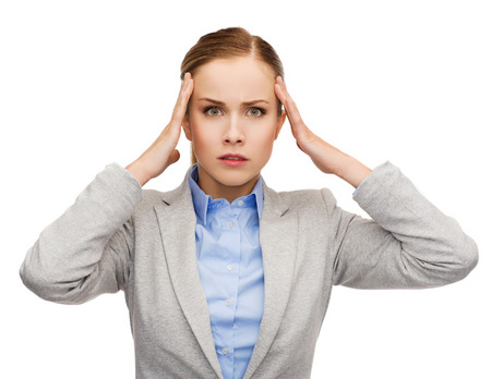 concep: business, medicine and office concep - stressed businesswoman having headache Stock Photo