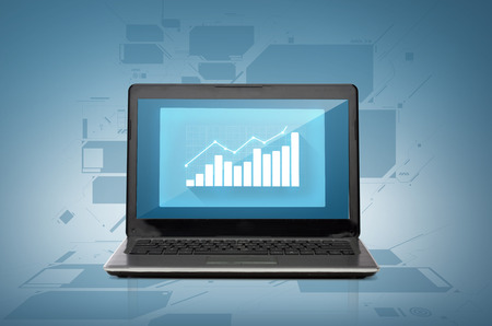 technology and economics concept - laptop computer with blank white screen photo