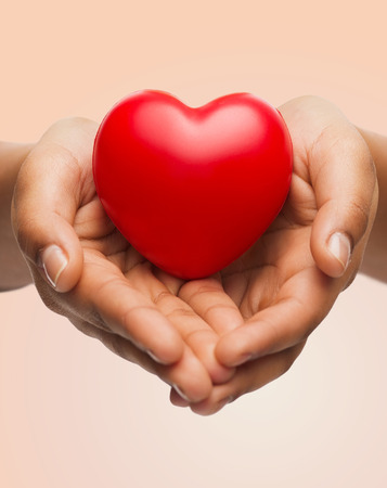 people, relationship and love concept - close up of womans cupped hands showing red heart photo