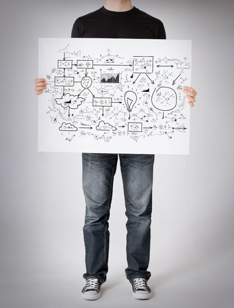 business and finances concept - man showing big plan on white board photo