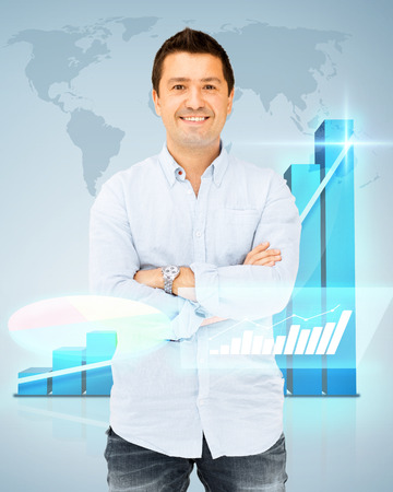 business, office and finance concept - handsome smiling man in casual shirt photo