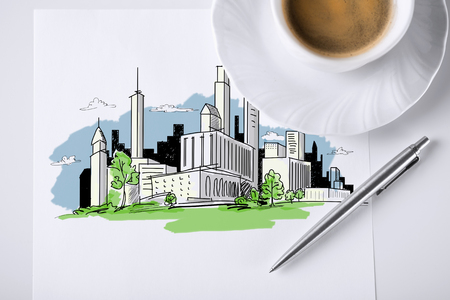 business and architecture concept - paper for note with city sketch and coffee Stock Photo - 26694110