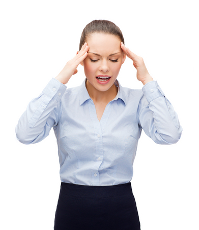business and office concept - upset businesswoman having headache Stock Photo - 26694919