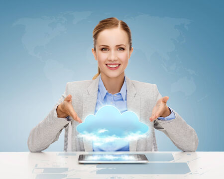 business, technology, internet and office concept - smiling businesswoman with tablet pc computer and cloud projection photo