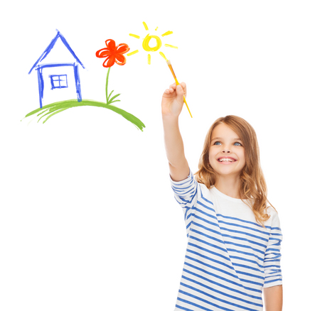 education, school and imaginary screen concept - cute little girl drawing house with brush Stock Photo