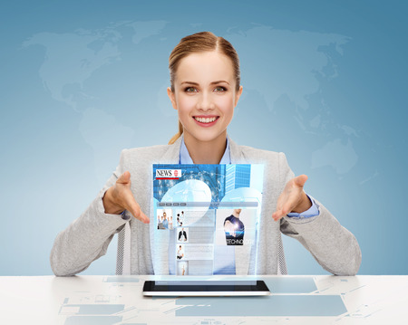 business, technology, internet and office concept - smiling businesswoman with tablet pc computer and news on virtual screen photo