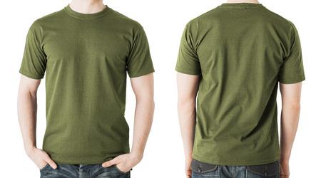 衣料品デザイン コンセプト - 空白カーキ グリーンの t シャツ、前面と背面の男
