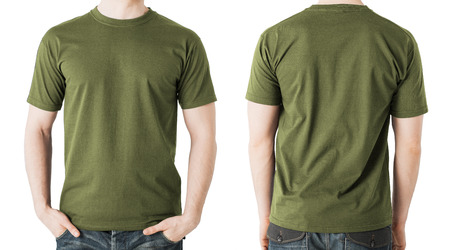 clothing design concept - man in blank khaki green t-shirt, front and back view Фото со стока